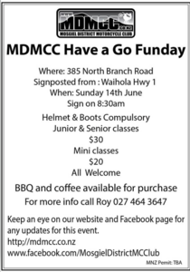 Sunday 14 June -MDMCC Have a Go Fund Day