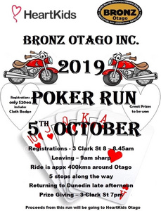 BRONZ Otago Poker run - 5 Oct